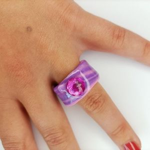 Chunky Handmade polymer clay ring  Finished with r
